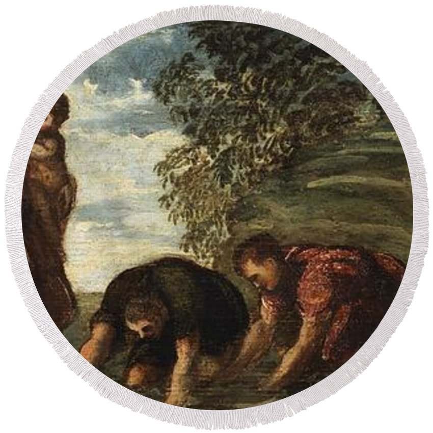 1545-1548 Round Beach Towel featuring the painting Latona Changing The Lycian Peasants Into Frogs by Tintoretto