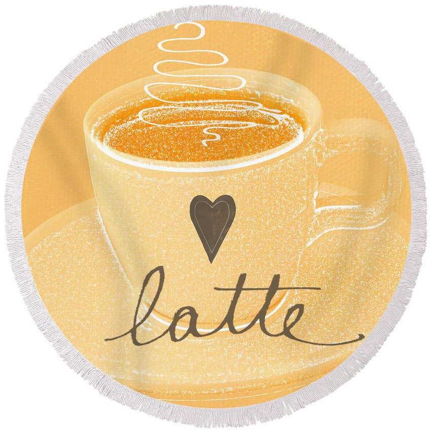 Latte Round Beach Towel featuring the painting Latte Love In Orange And White by Linda Woods