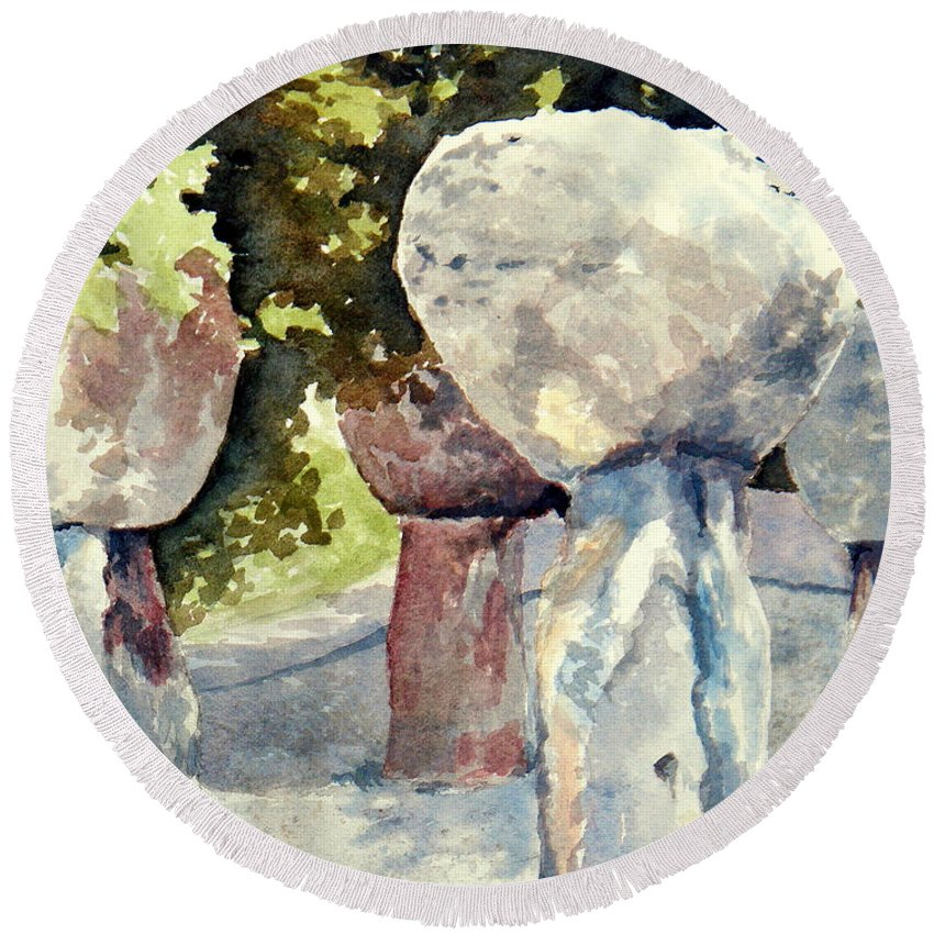 Landscape Round Beach Towel featuring the painting Latte Stone by Lisa Pope