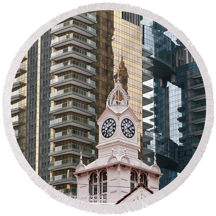 Singapore Round Beach Towel featuring the photograph Lau Pa Sat Market 02 by Rick Piper Photography