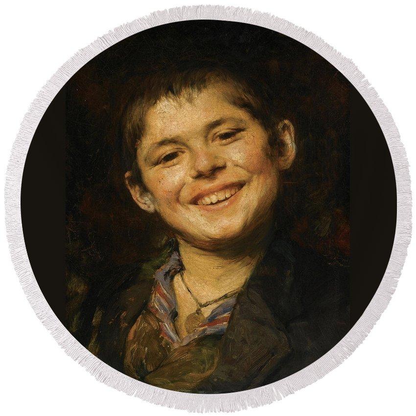 Georgios Jakovidis Round Beach Towel featuring the painting Laughing Boy by Georgios Jakovidis