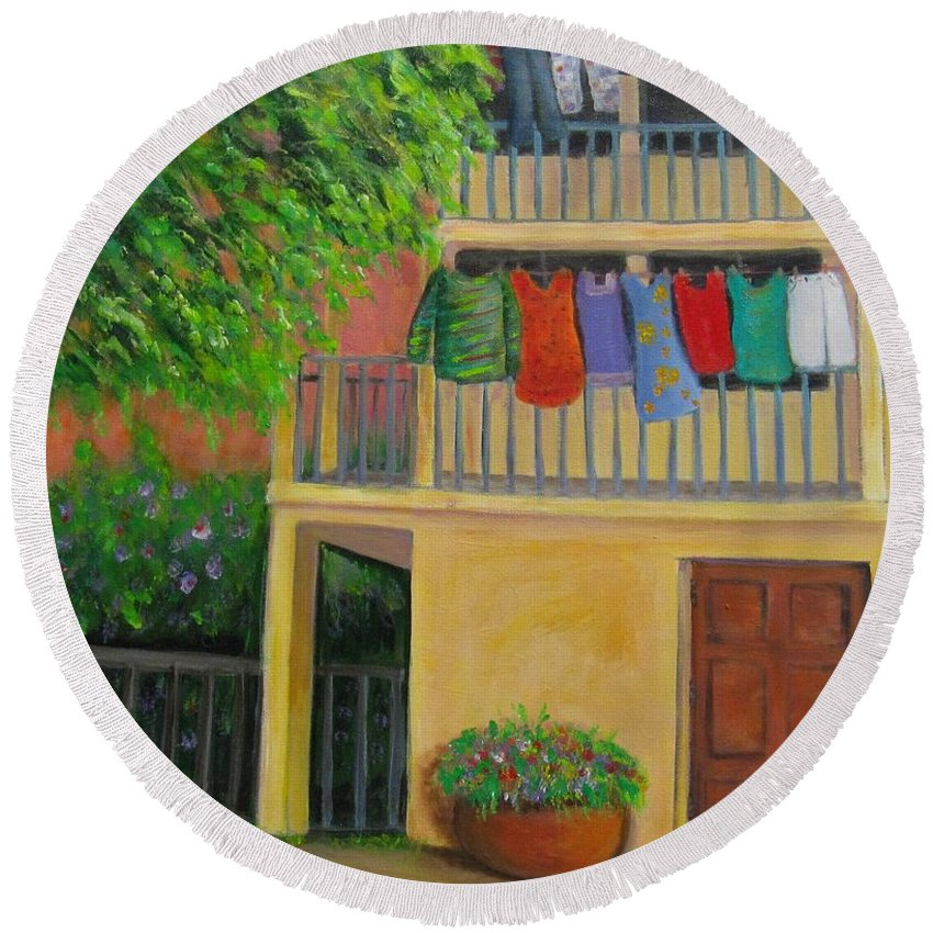 Laundry Round Beach Towel featuring the painting Laundry Day by Laurie Morgan