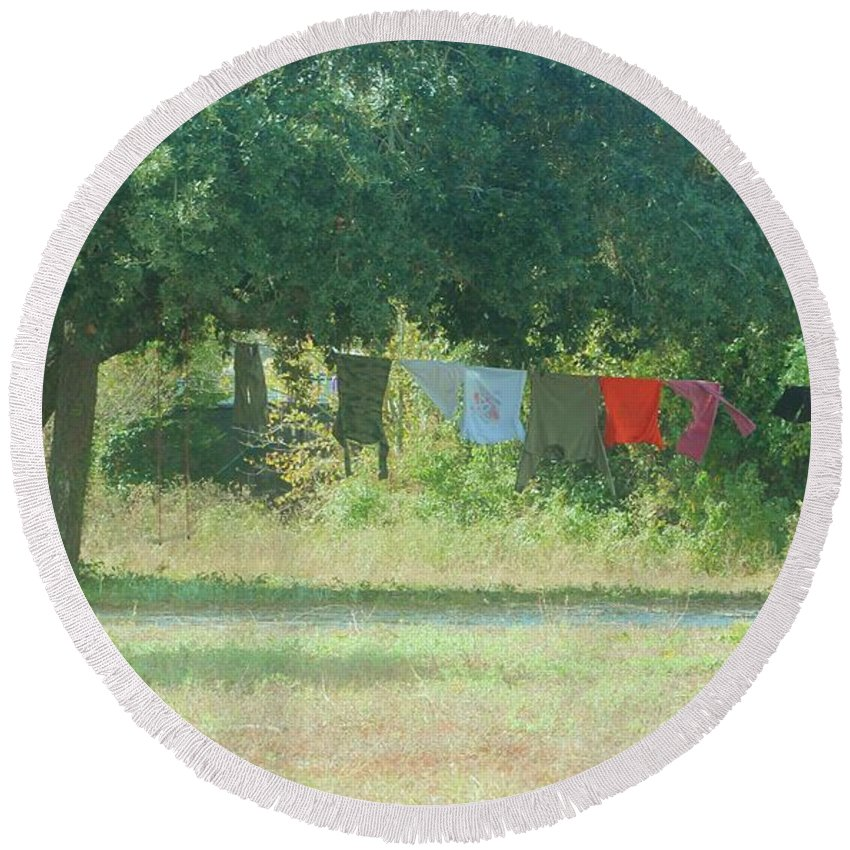Laundry Round Beach Towel featuring the photograph Laundry Hanging From The Tree by Michelle Powell