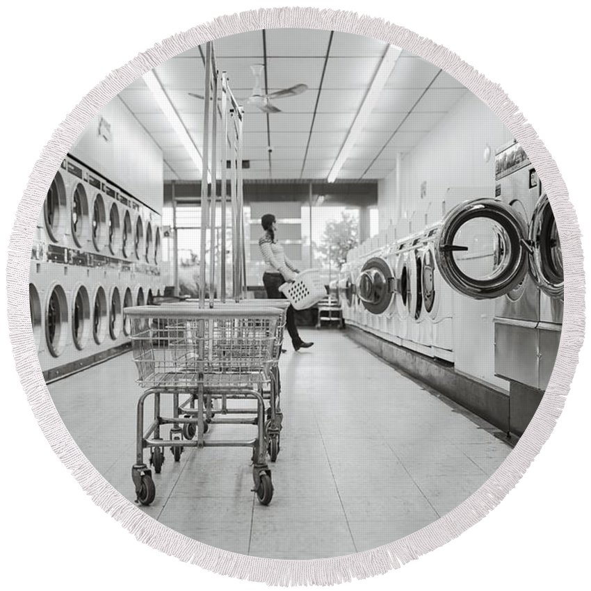 Laundry Round Beach Towel featuring the photograph Laundry Room by FL collection
