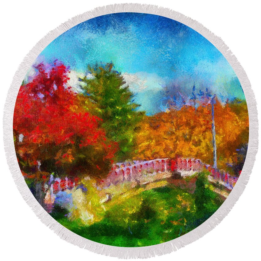 Autumn Round Beach Towel featuring the photograph Laura Bradley Park 1922 Japanese Bridge 02 by Thomas Woolworth