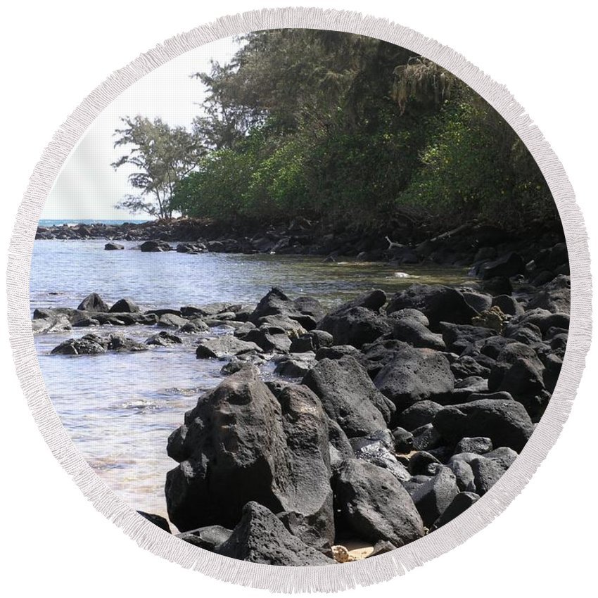 Ocean Round Beach Towel featuring the photograph Lava Rocks by Mary Deal