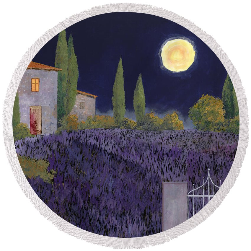 Tuscany Round Beach Towel featuring the painting Lavanda Di Notte by Guido Borelli