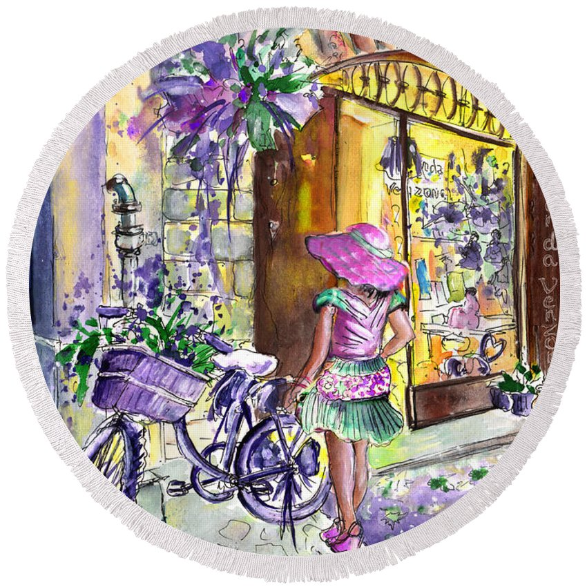 Travel Round Beach Towel featuring the painting Lavanda Di Venzone In Bergamo by Miki De Goodaboom