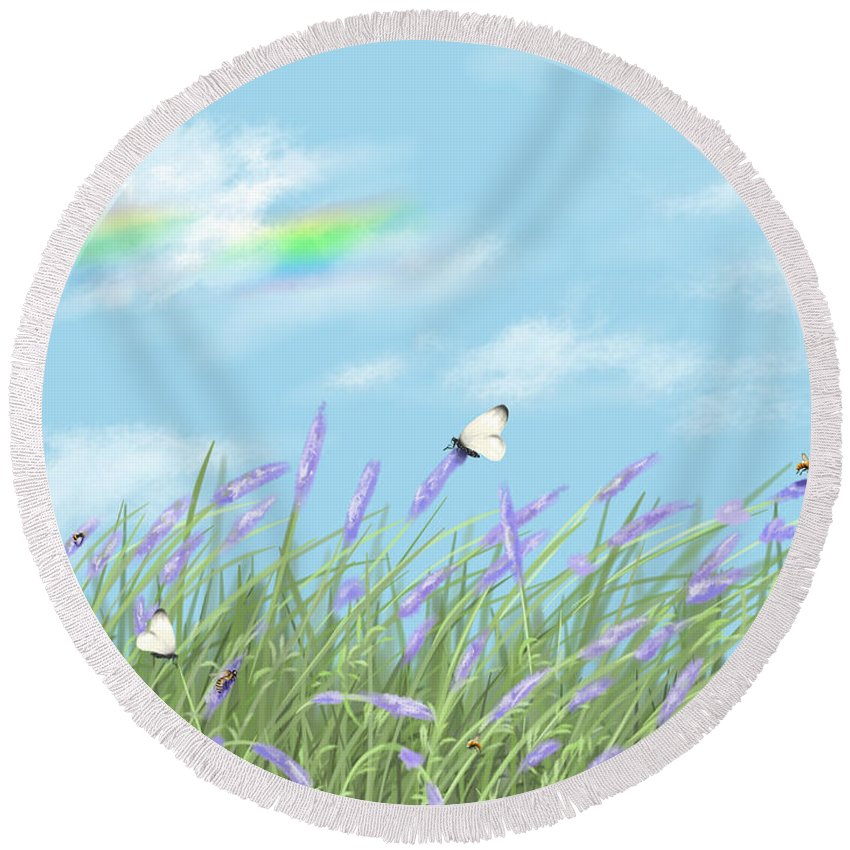 Nature Round Beach Towel featuring the painting Lavander by Veronica Minozzi