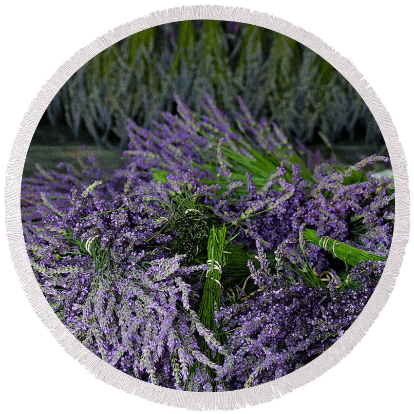 Lavender Round Beach Towel featuring the photograph Lavender Bundles by Catherine Sherman