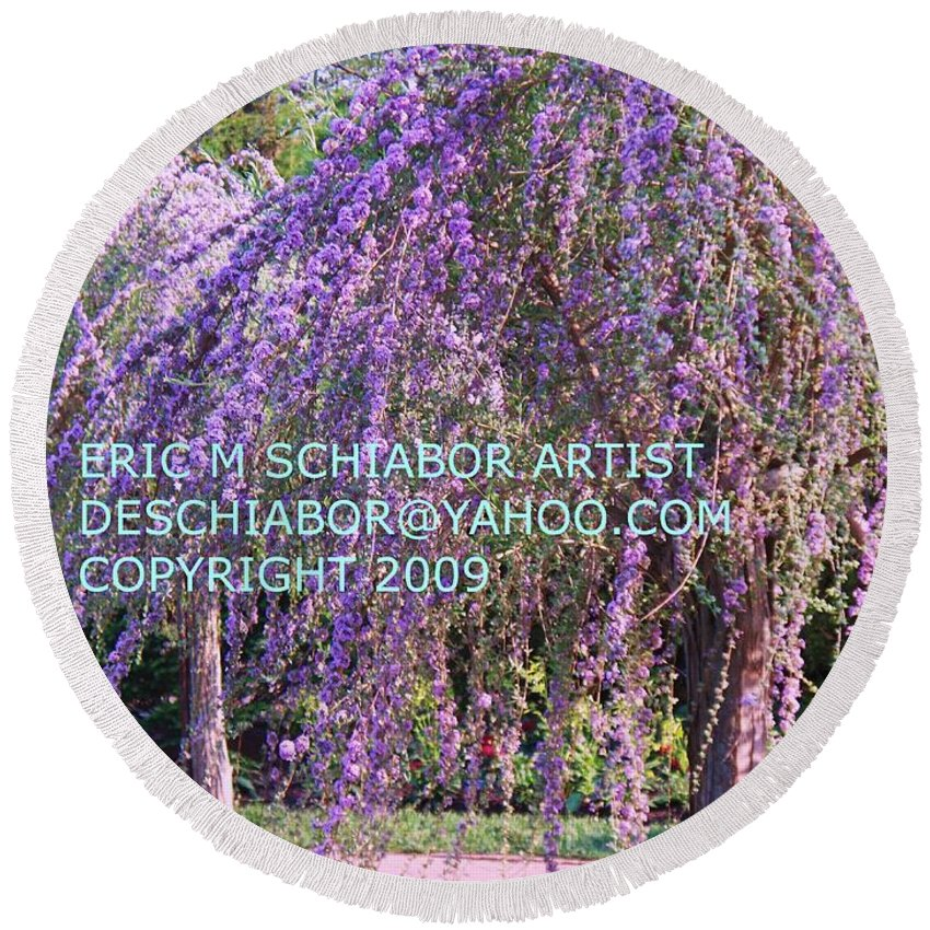 Butterfly Bush Round Beach Towel featuring the photograph Lavender Butterfly Bush by Eric Schiabor