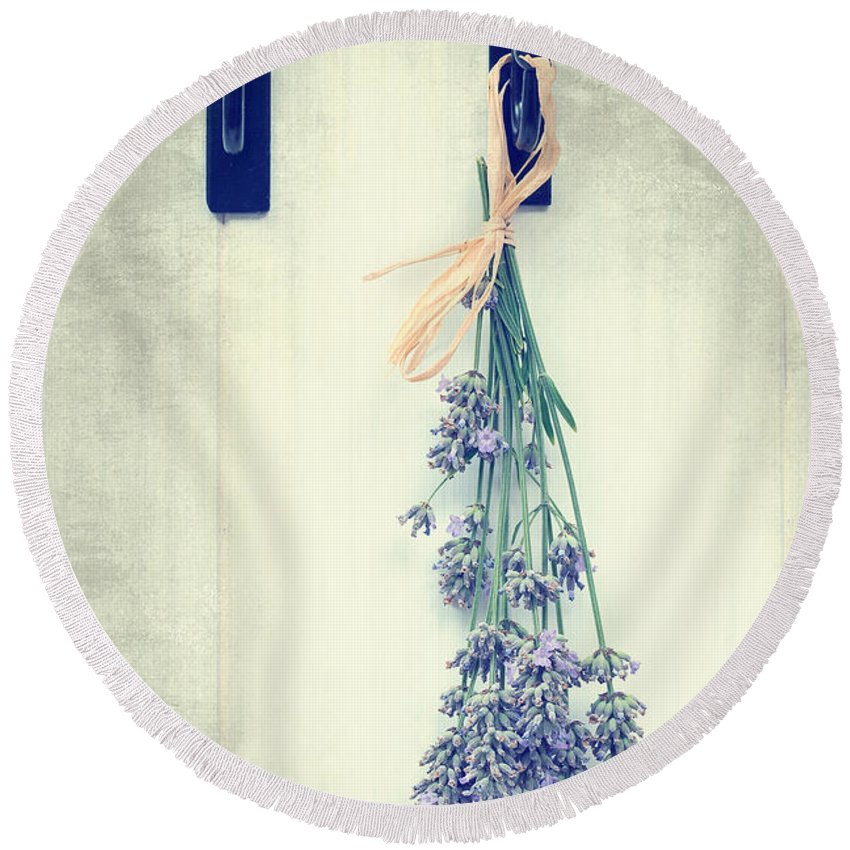 Lavender Round Beach Towel featuring the photograph Lavender by Amanda Elwell