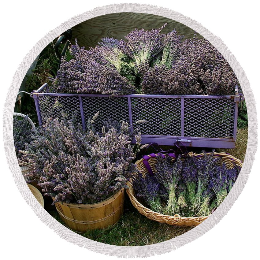 Lavender Round Beach Towel featuring the mixed media Lavender Harvest by Alicia Kent