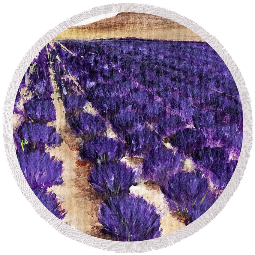 Interior Round Beach Towel featuring the painting Lavender Study - Marignac-en-diois by Anastasiya Malakhova