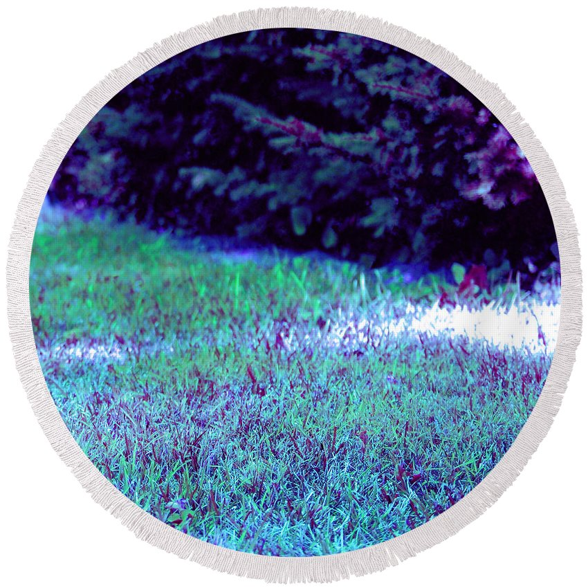 First Star Art Round Beach Towel featuring the photograph Lawn Blue by First Star Art