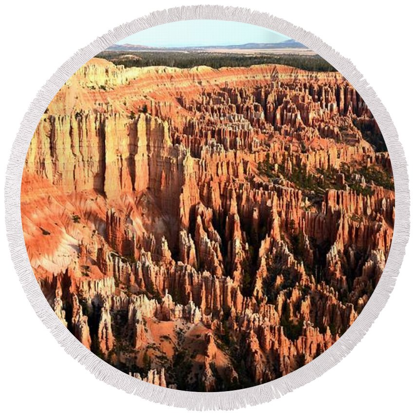 Bryce Canyon Round Beach Towel featuring the photograph Layered Hoodoos At Bryce Canyon National Park by Rincon Road Photography By Ben Petersen