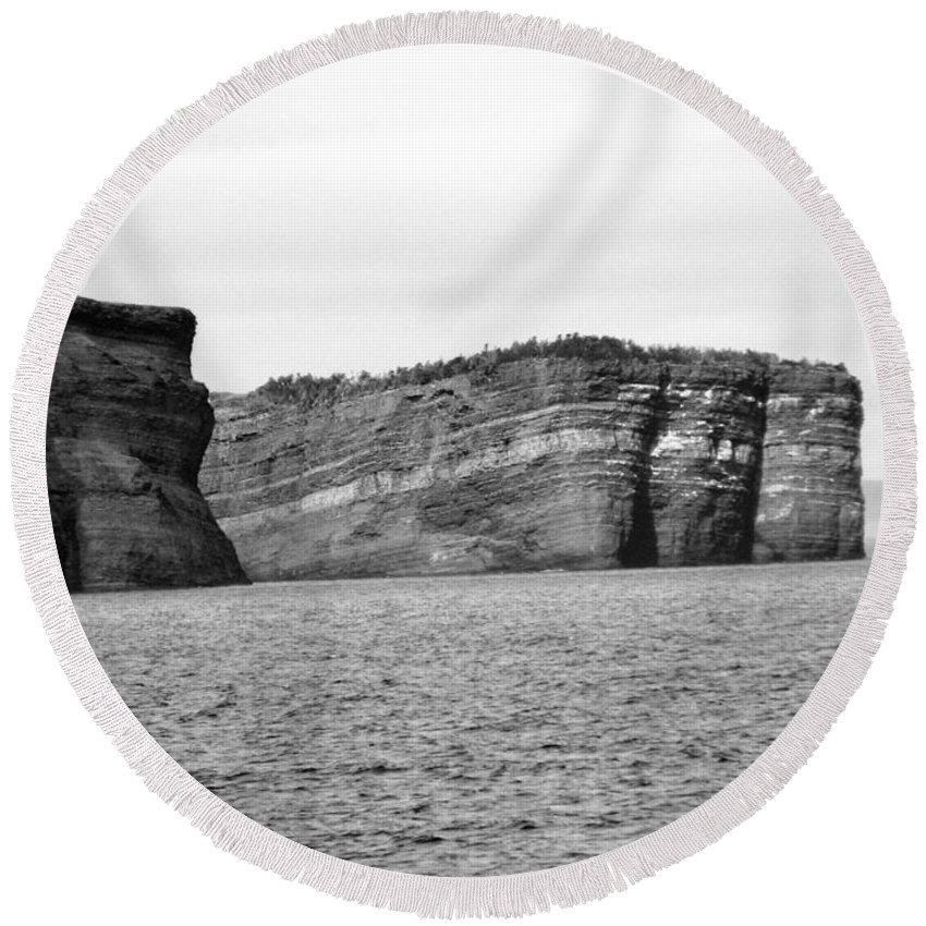 Rock Round Beach Towel featuring the photograph Layers Of Bedrock by Barbara Griffin