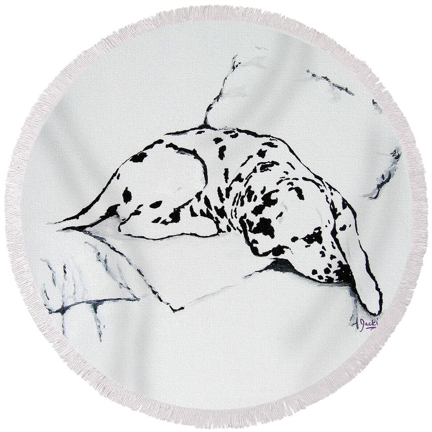 Dogs Round Beach Towel featuring the painting Lazy Day by Jacki McGovern
