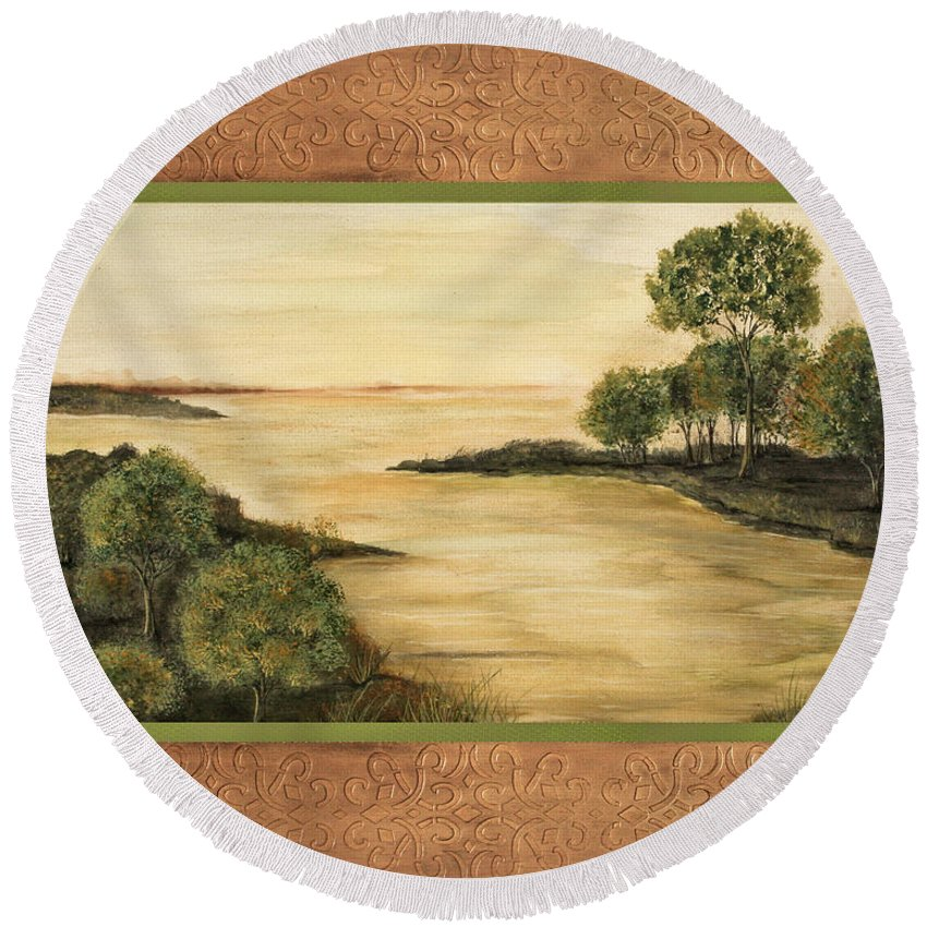 Acrylic Painting Round Beach Towel featuring the painting Lazy Summer Days by Jean Plout