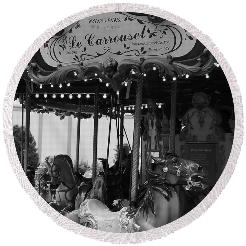 New York City Round Beach Towel featuring the photograph Le Carrousel by David Rucker