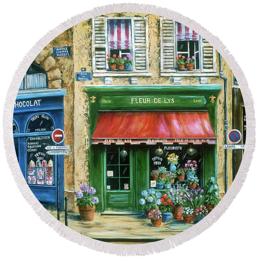 Europe Round Beach Towel featuring the painting Le Fleuriste by Marilyn Dunlap
