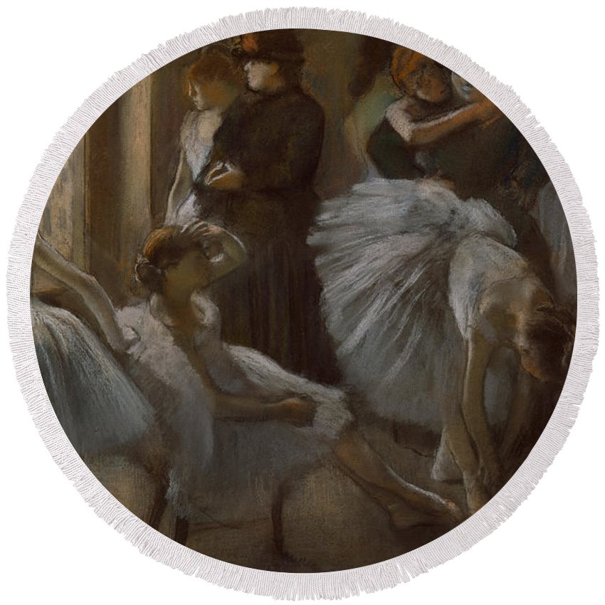 Dancer Round Beach Towel featuring the painting Le Foyer De L'opera by Edgar Degas