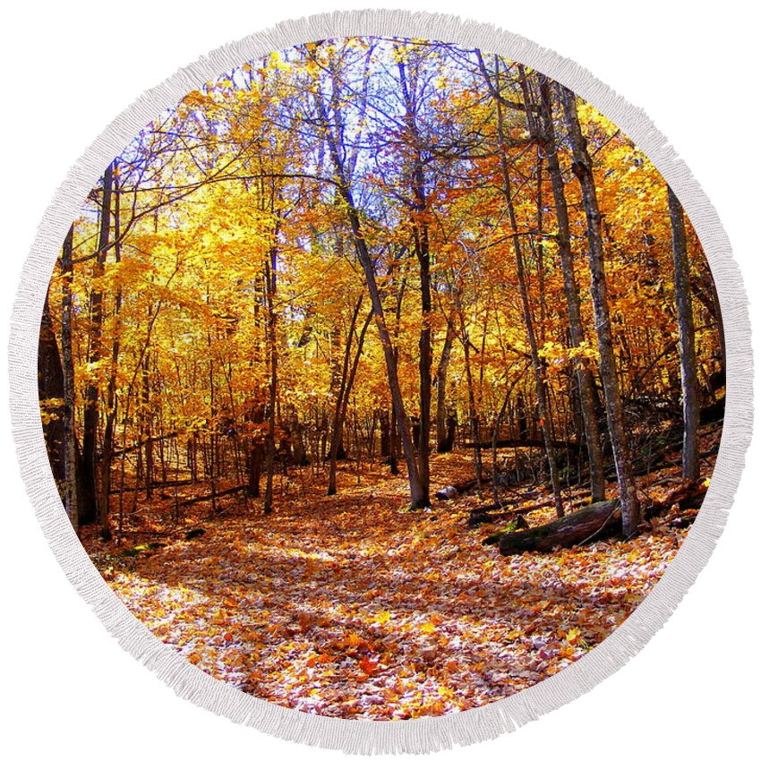 Fall Round Beach Towel featuring the photograph Leaf Covered Trail by Mark Hudon