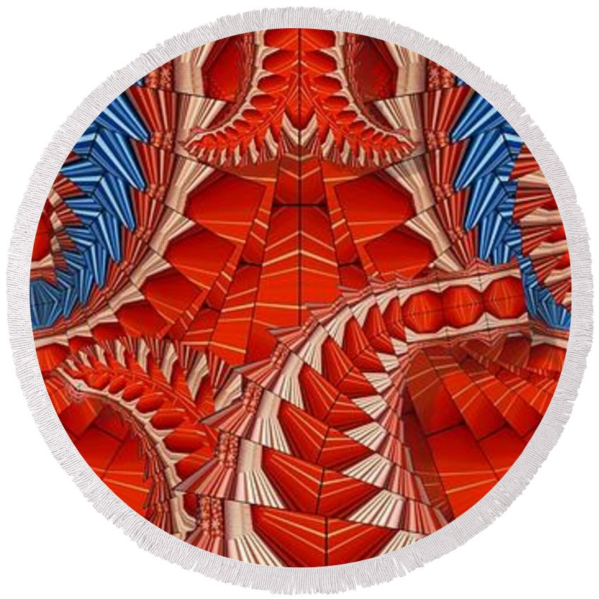 Abstract Round Beach Towel featuring the digital art Leaf Pattern In Red by Ron Bissett