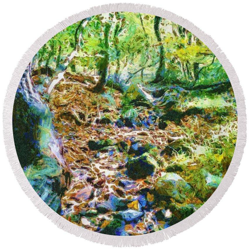 Sacredlife Mandalas Round Beach Towel featuring the painting Leaf Stream by Derek Gedney