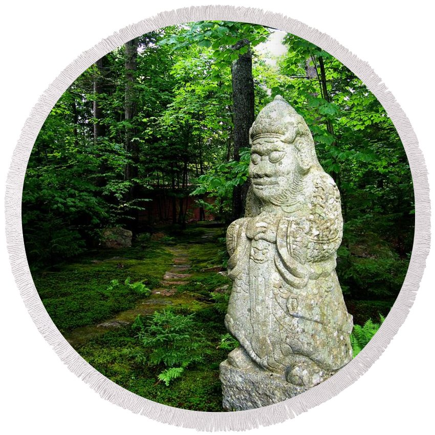 Oriental Garden Round Beach Towel featuring the photograph Leafy Path And Statuary Abby Aldrich Garden by Lizi Beard-Ward