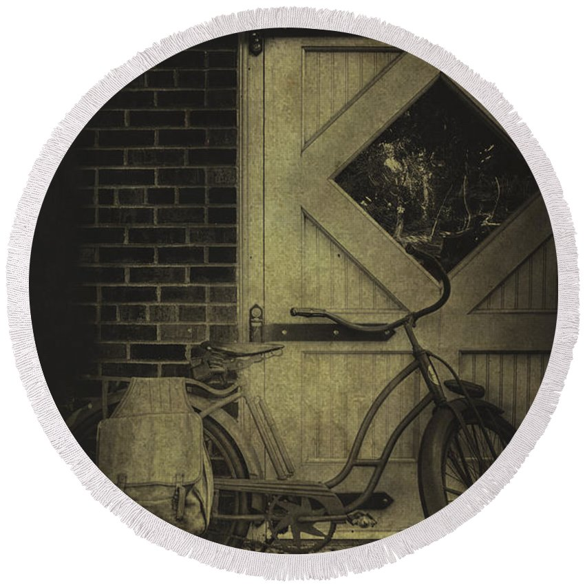 Vintage; Antique; Old; Bike; Bicycle; Lean; Leaning; Barn; Transport; Transportation; Door; Window; Brick; Wood; Wooden; Paint Round Beach Towel featuring the photograph Leaning by Margie Hurwich