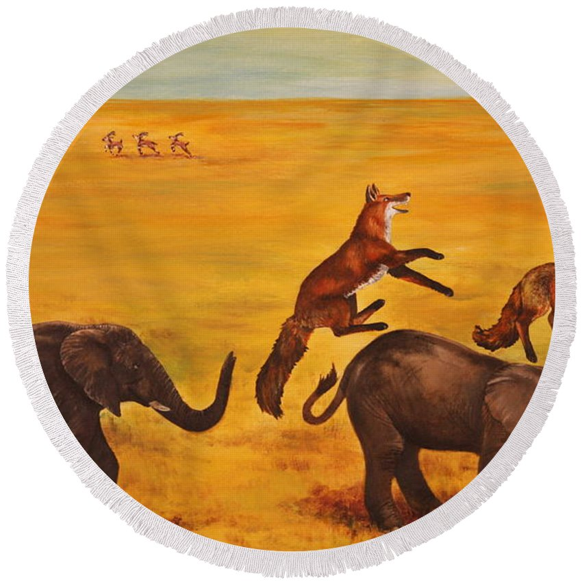 Fox Round Beach Towel featuring the painting Leap Frog by Michelle Miron-Rebbe