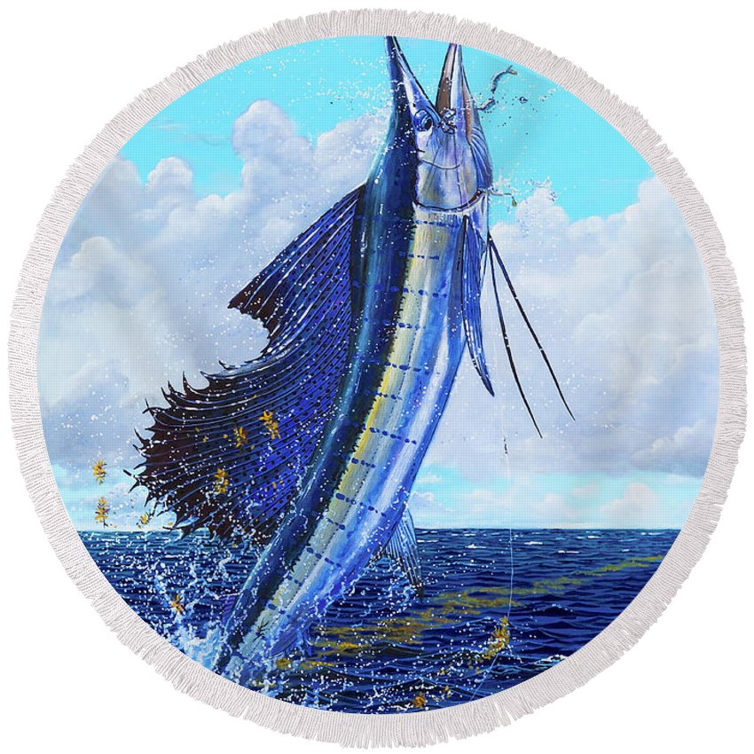 Sailfish Round Beach Towel featuring the painting Leap Of Freedom Off0048 by Carey Chen