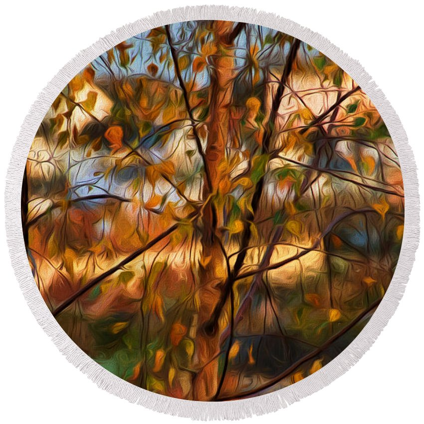 Leaves Round Beach Towel featuring the photograph Leaves - Impressions by Susie Peek