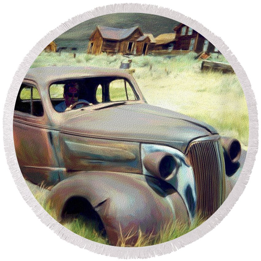 Photography Round Beach Towel featuring the digital art Leaving Bodie by Snake Jagger