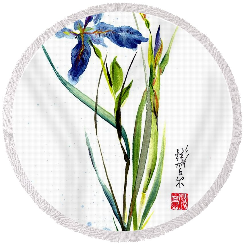 Chinese Brush Painting Round Beach Towel featuring the painting Leaving Zen by Bill Searle