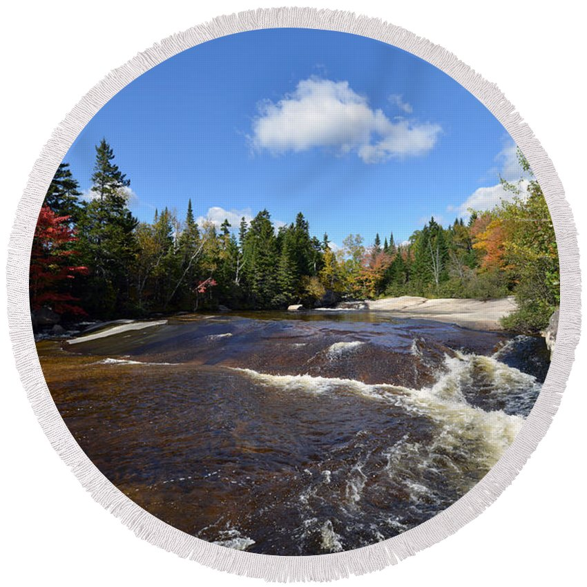 Fall Foliage Round Beach Towel featuring the photograph Ledge Falls Maine by Terri Winkler