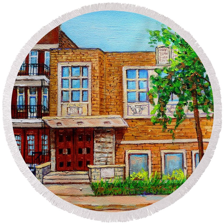 Montreal Round Beach Towel featuring the painting Legare And Hutchison Synagogue Montreal by Carole Spandau