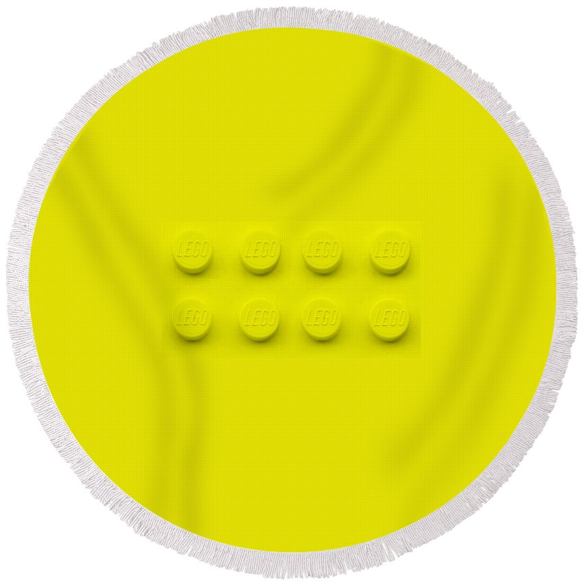 Lego Round Beach Towel featuring the photograph Lego Block Yellow by Rob Hans
