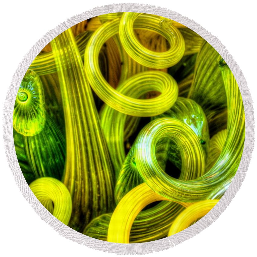 Glass Round Beach Towel featuring the photograph Lemon And Lime by Debbi Granruth