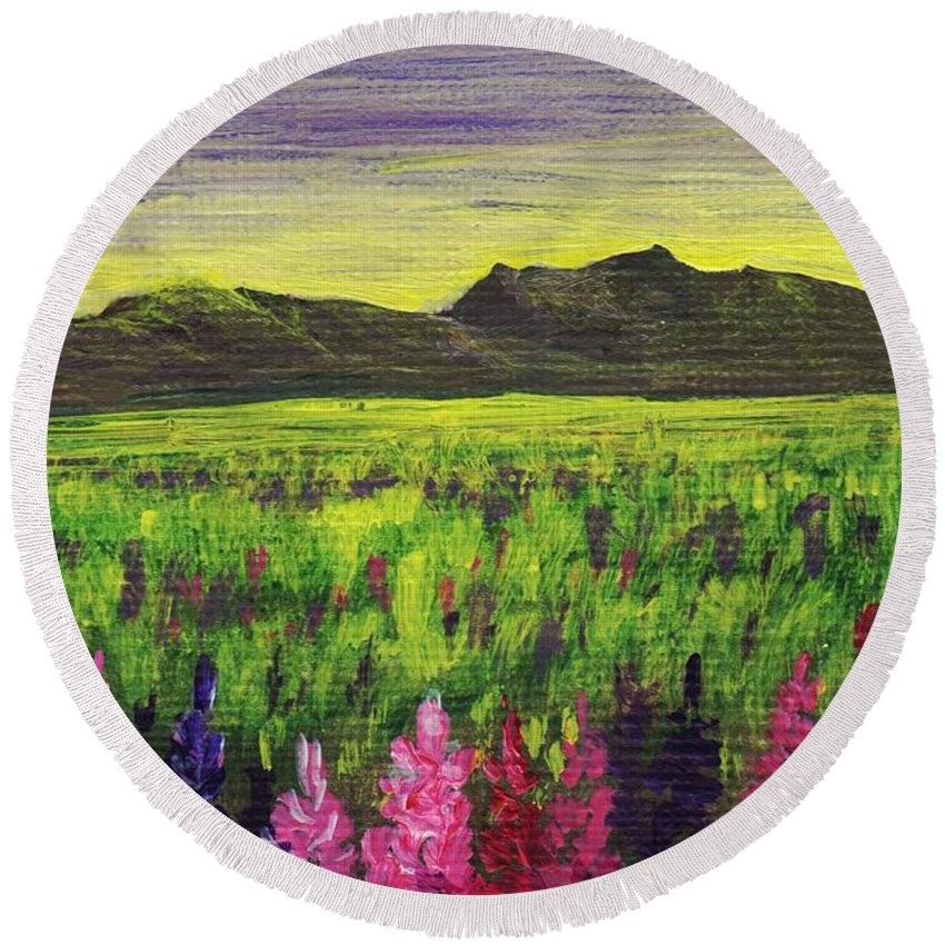 Calm Round Beach Towel featuring the painting Lemon Yellow Sunset by Anastasiya Malakhova