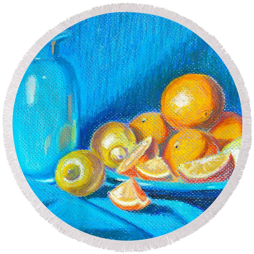Still Life Round Beach Towel featuring the pastel Lemons And Oranges by Tricia Lesky