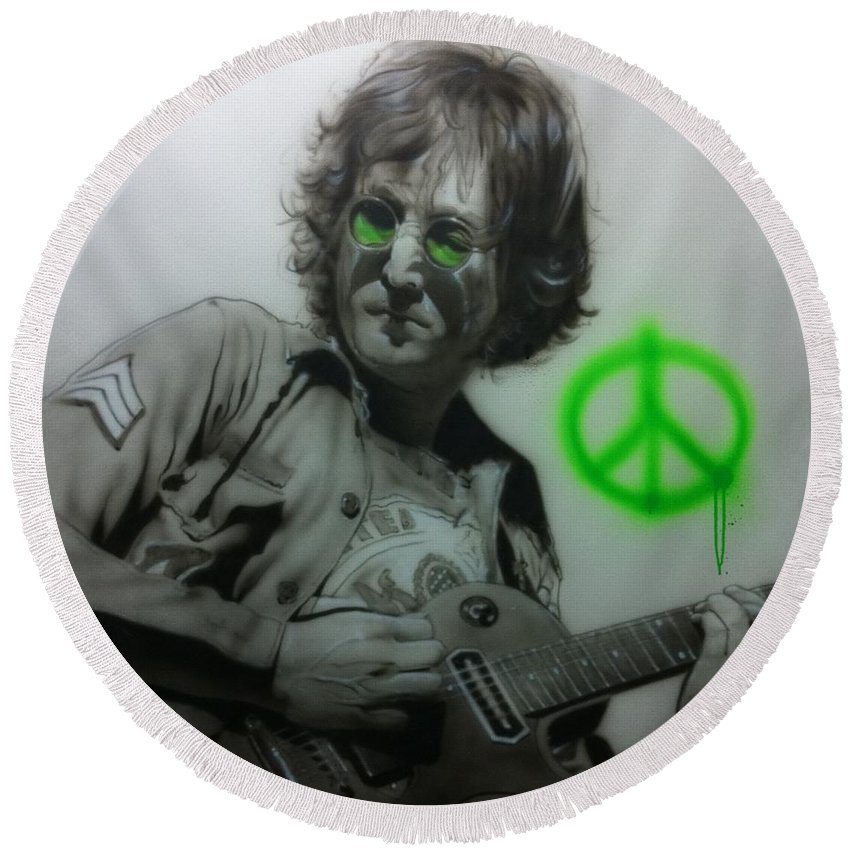 John Lennon Round Beach Towel featuring the painting Lennon by Christian Chapman Art