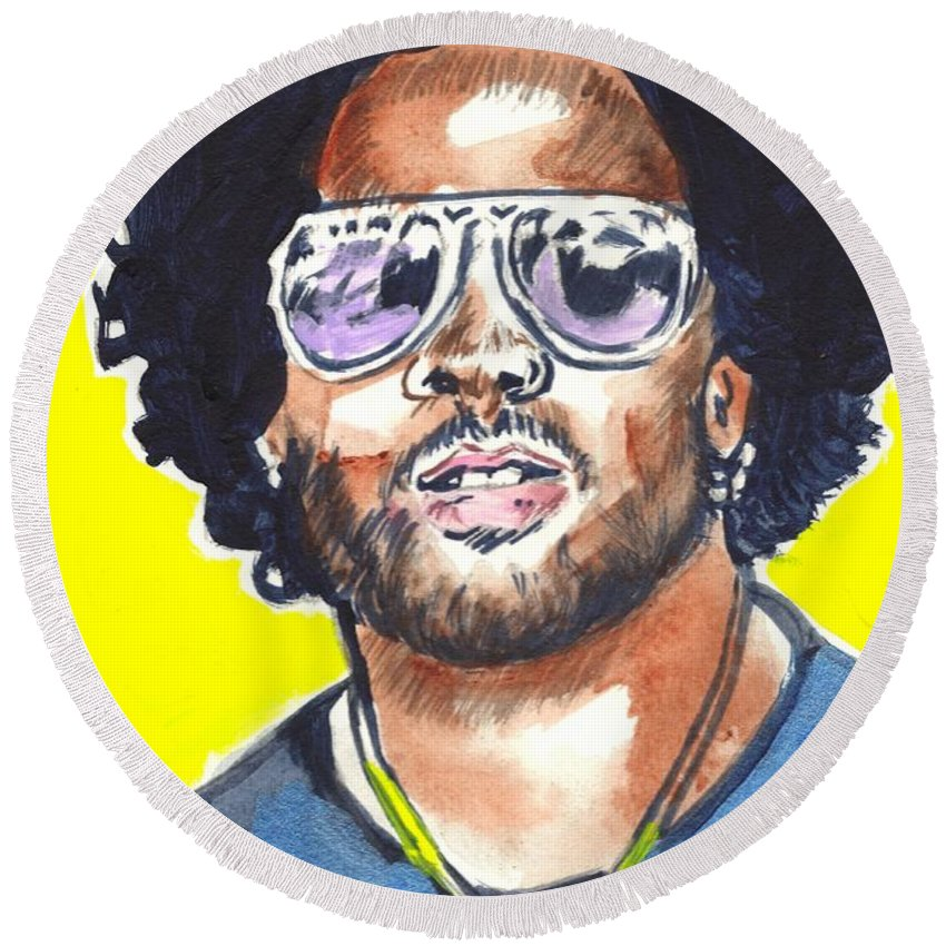 Lenny Kravitz Round Beach Towel featuring the painting Lenny Kravitz by Bryan Bustard