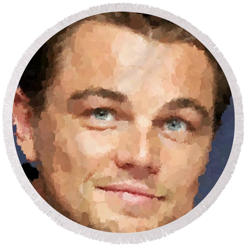 Leonardo Round Beach Towel featuring the painting Leonardo Dicaprio Portrait by Samuel Majcen