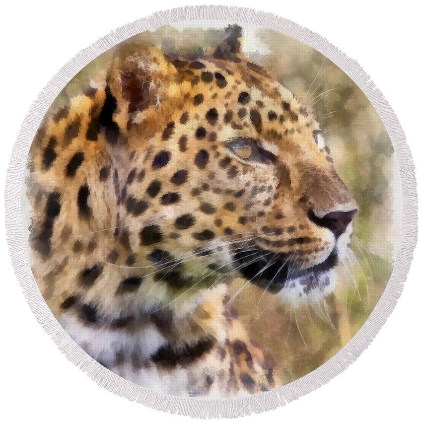 Aquarell Round Beach Towel featuring the photograph Leopard 7 by Ingrid Smith-Johnsen