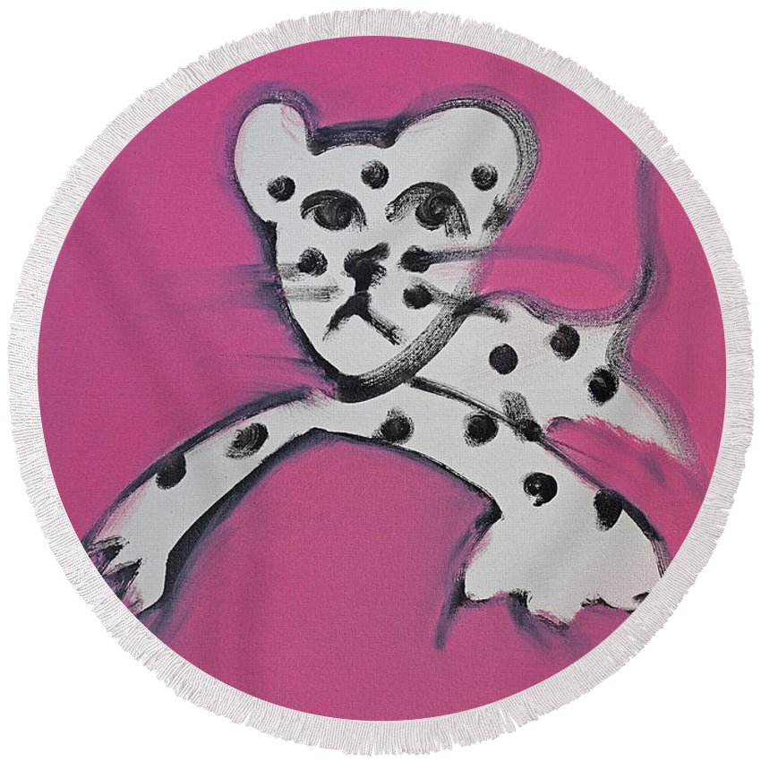Leopard Round Beach Towel featuring the painting Leopard by Charles Stuart