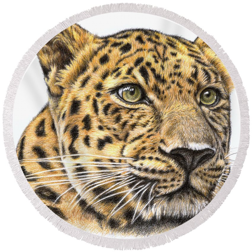 Leopard Round Beach Towel featuring the drawing Leopard by Nicole Zeug