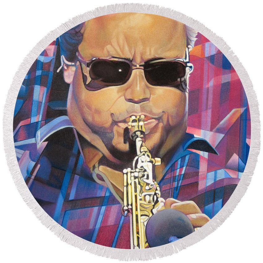 Leroi Moore Round Beach Towel featuring the drawing Leroi Moore And 2007 Lights by Joshua Morton