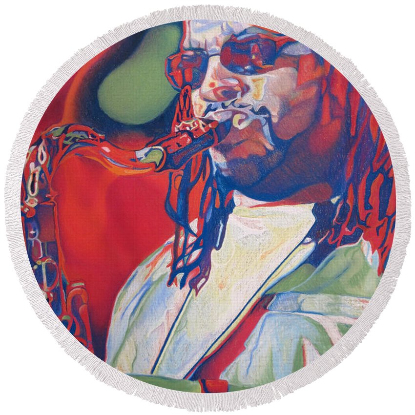 Leroi Moore Round Beach Towel featuring the drawing Leroi Moore Colorful Full Band Series by Joshua Morton